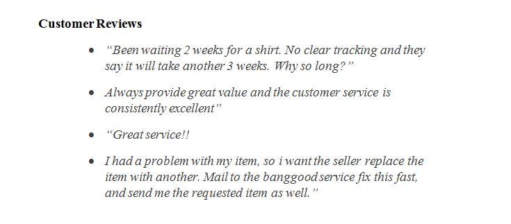 Banggood customers reviews