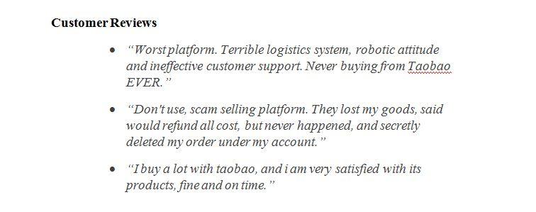 Taobao customers review