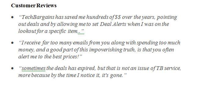 TechBargains customers reviews